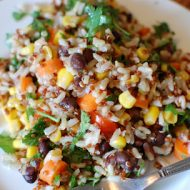 colorful quinoa, rice, veggie bowl