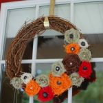 Fall Wreath with Twisted Fabric Flowers