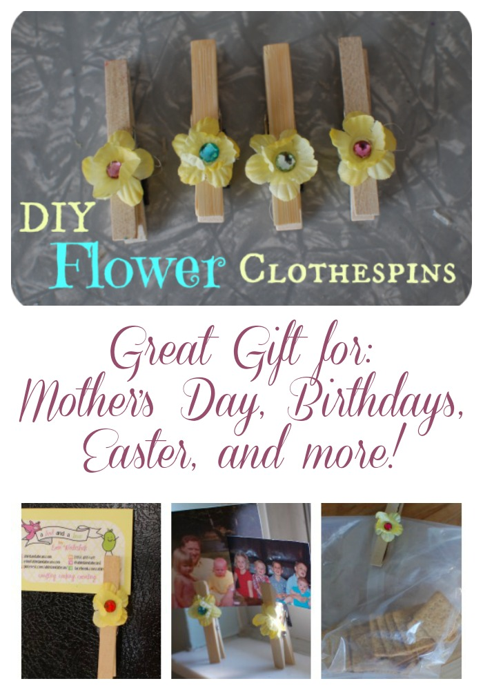 DIY Flower Clothespins make a wonderful gift for moms on Mother's Day, Easter, Birthday or more!
