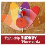 Paint-chip Turkey Thanksgiving Place Cards