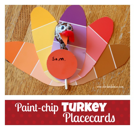 Thanksgiving Place Cards:  Make these super cute Paint Chip Turkey Thanksgiving Place Cards in minutes!  Kids will love making them, and they are super cheap!