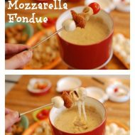 Chicken Parmesan Skewers with Balsamic Mozzarella Fondue