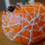Simple No Carve Spider Web Pumpkin