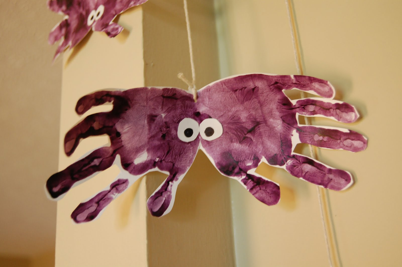 Handprint spiders a bird and a bean for Fun and cute crafts