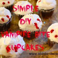 diy Halloween vampire bite cupcakes