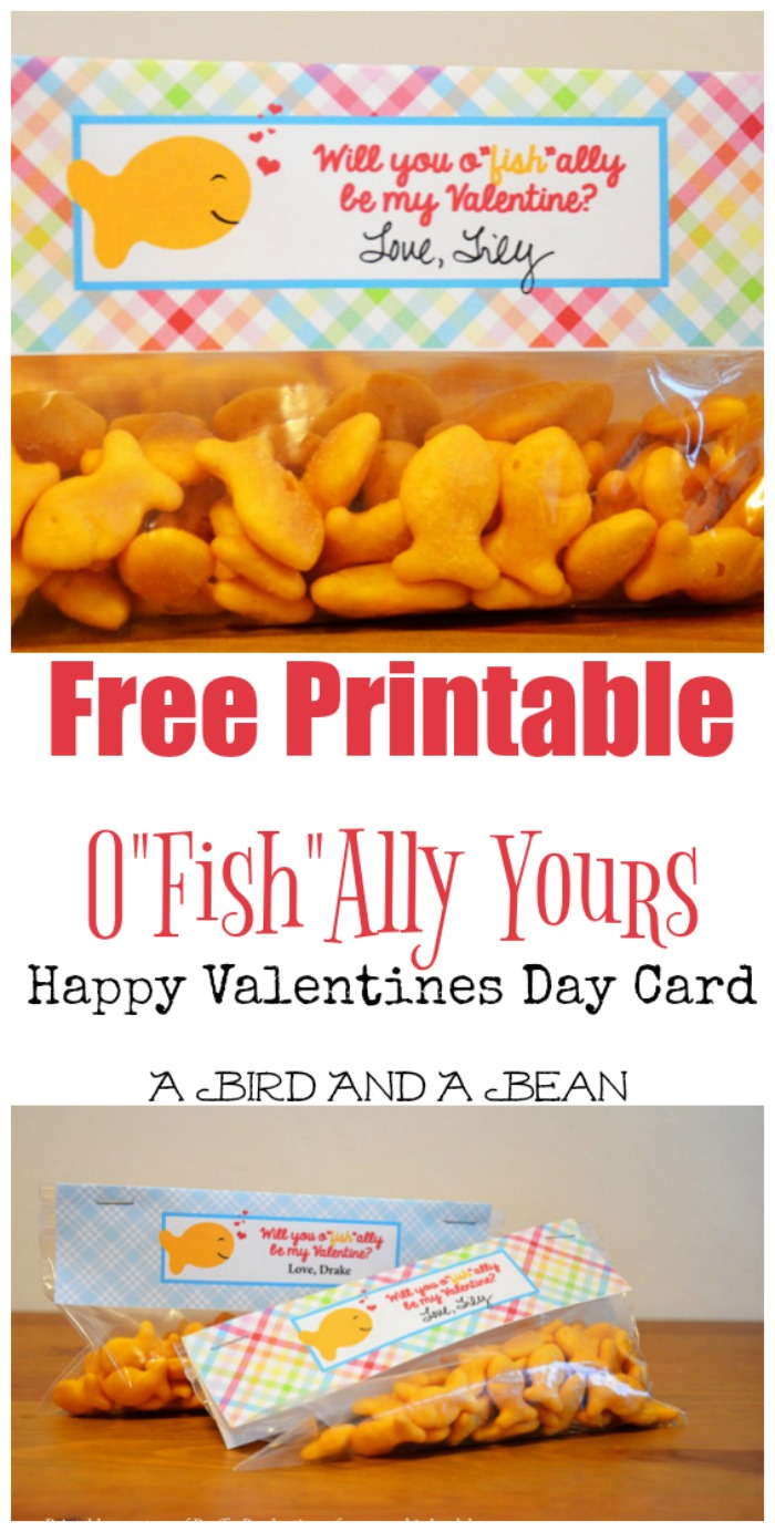 "Grab this Free Printable Happy Valentines Day Card to show your Valentine they are O""Fish""Ally Yours this year! Such a cute and whimsical easy to use idea!"