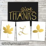 Gold Fall Leaves and Initials :: Free Printable