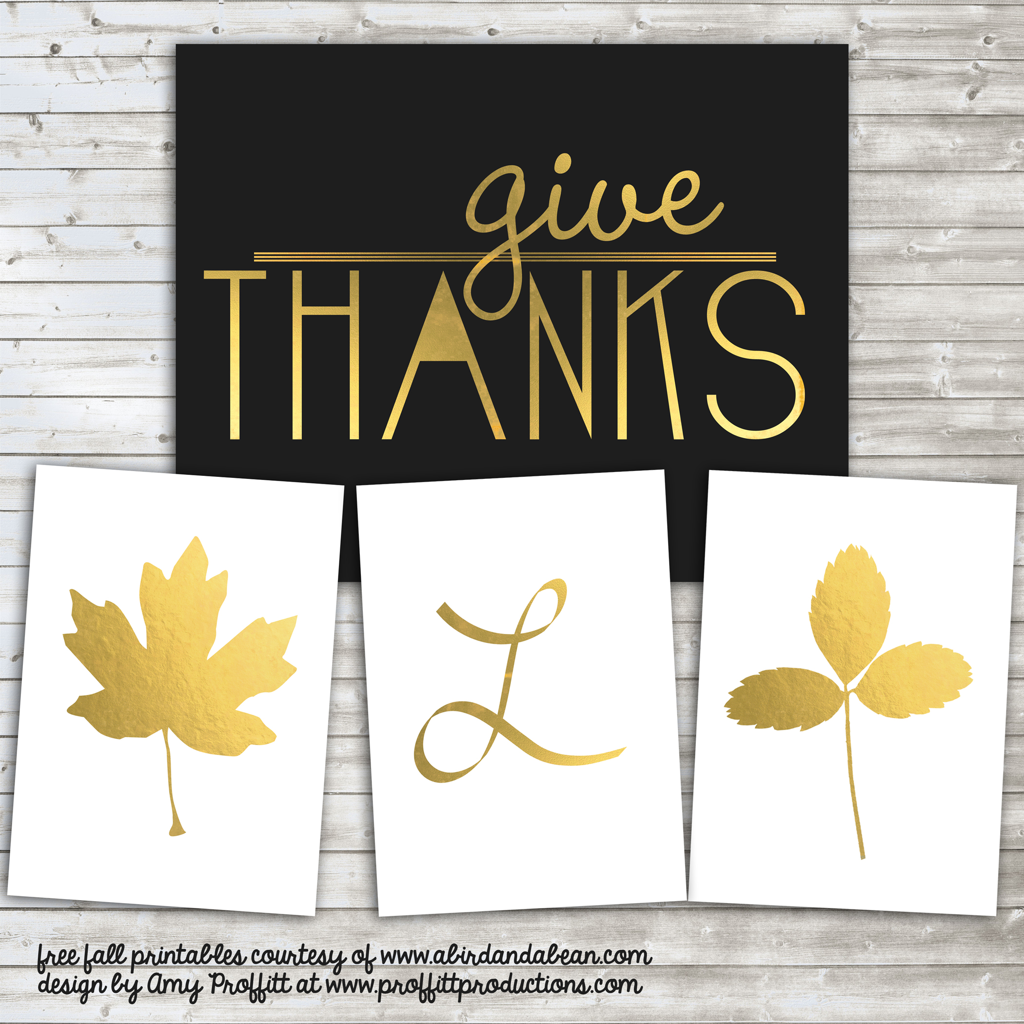 gold fall leaves and initials free printable