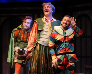 "(From left) Justin McCombs as Sir Andrew, Jim Hopkins as Sit Toby and Jeremy Dubin as Feste in CSC's 2013 production of William Shakespeare's ""Twelfth Night"". By Rich Sofranko."