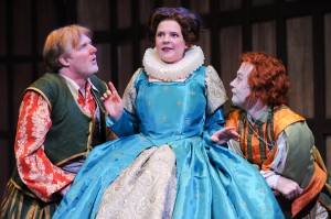 "(From left) Jim Hopkins as Sir Toby, Miranda McGee as Maria and Justin McCombs as Sir Andrew in CSC's 2013 production of William Shakespeare's ""Twelfth Night"". By Rich Sofranko."