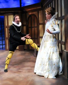 "(From left) Paul Riopelle as Mavolio and Corinne Mohlenhoff as Olivia Viola in CSC's 2013 production of William Shakespeare's ""Twelfth Night"". By Rich Sofranko."