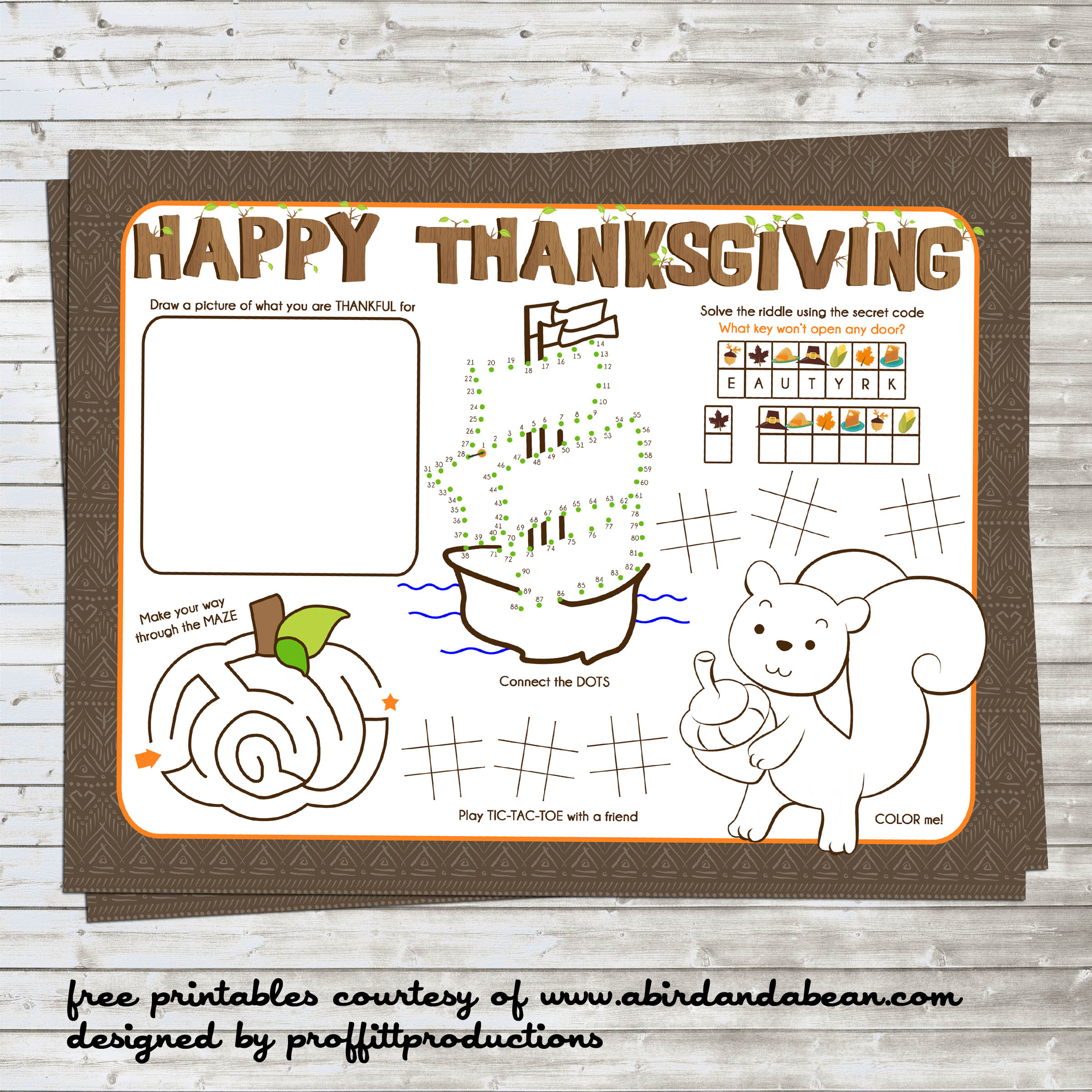 Free Printable :: Thanksgiving Placemat for the Kids