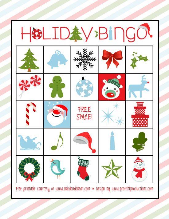 holiday bingo set free printable