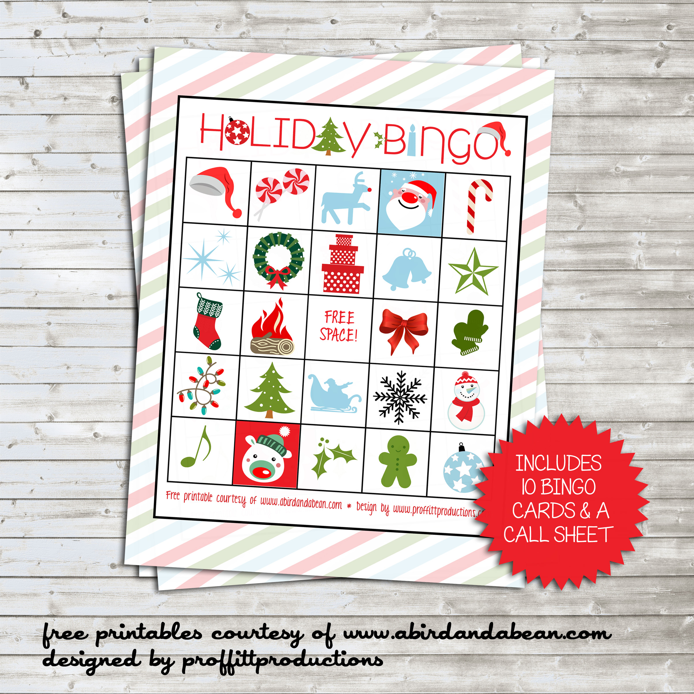 holiday bingo set free printable
