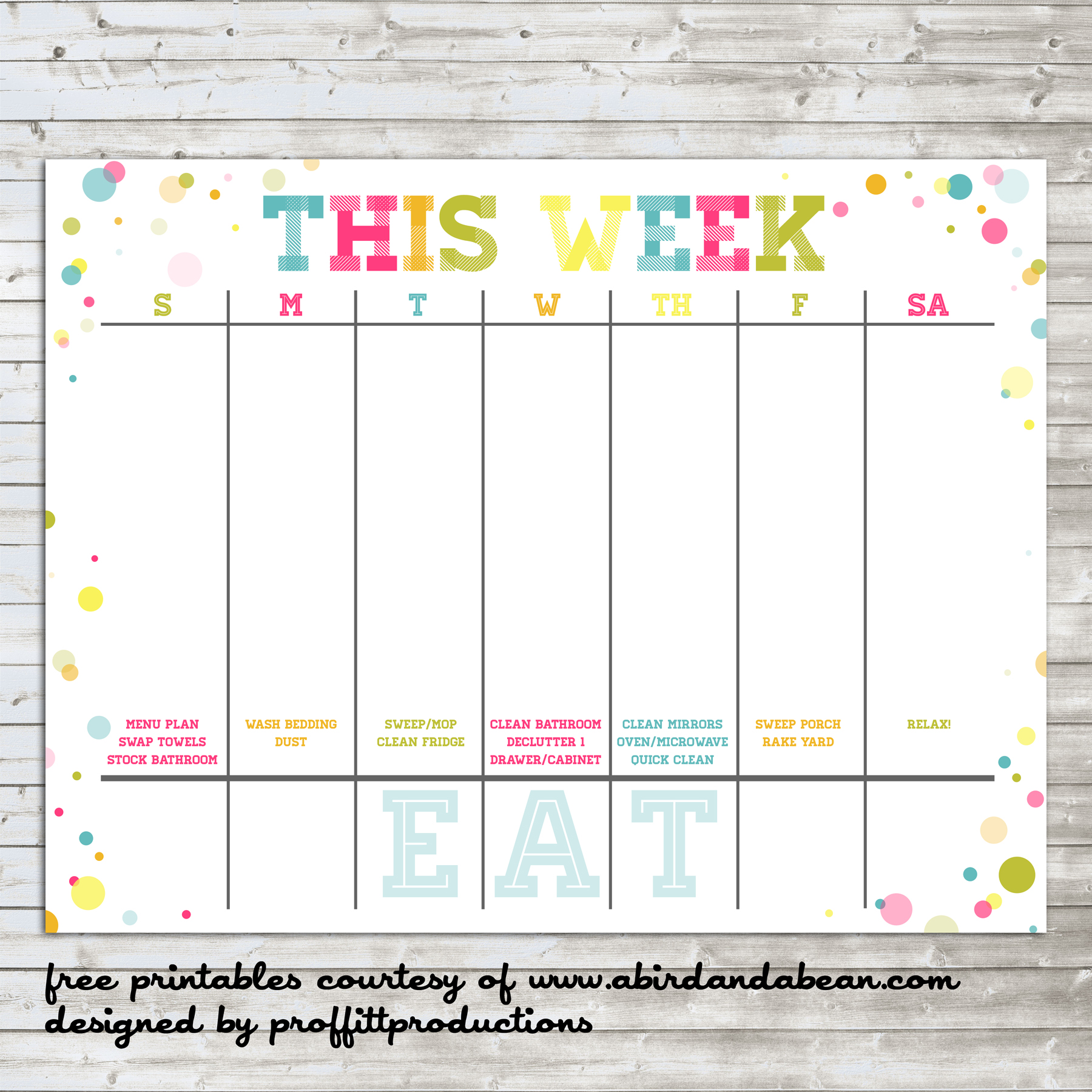 Calendar Printables Weekly School : Colorful weekly calendar free printable