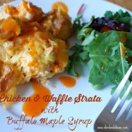 Chicken and Waffle Strata with Buffalo Maple Syrup