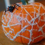 Simple No Carve Spider Web Pumpkin