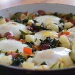 Potato, Ham and Veggie Hash with Eggs