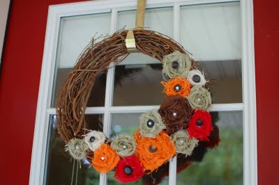 Fall Wreath ideas include my favorite Fall Wreath with Twisted Fabric Flowers!  This is super easy and oh so cheap!  It includes a step by step tutorial!