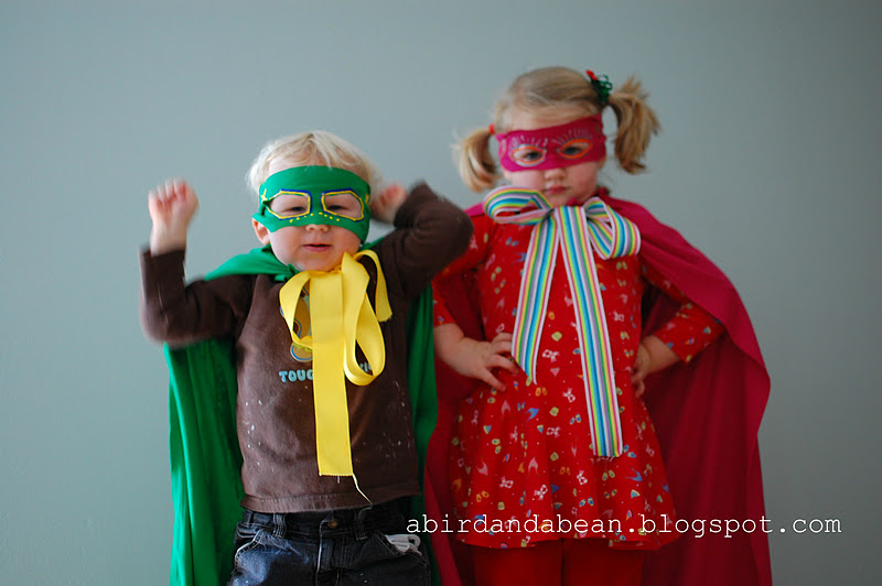 diy no sew super hero capes - A Bird and a Bean